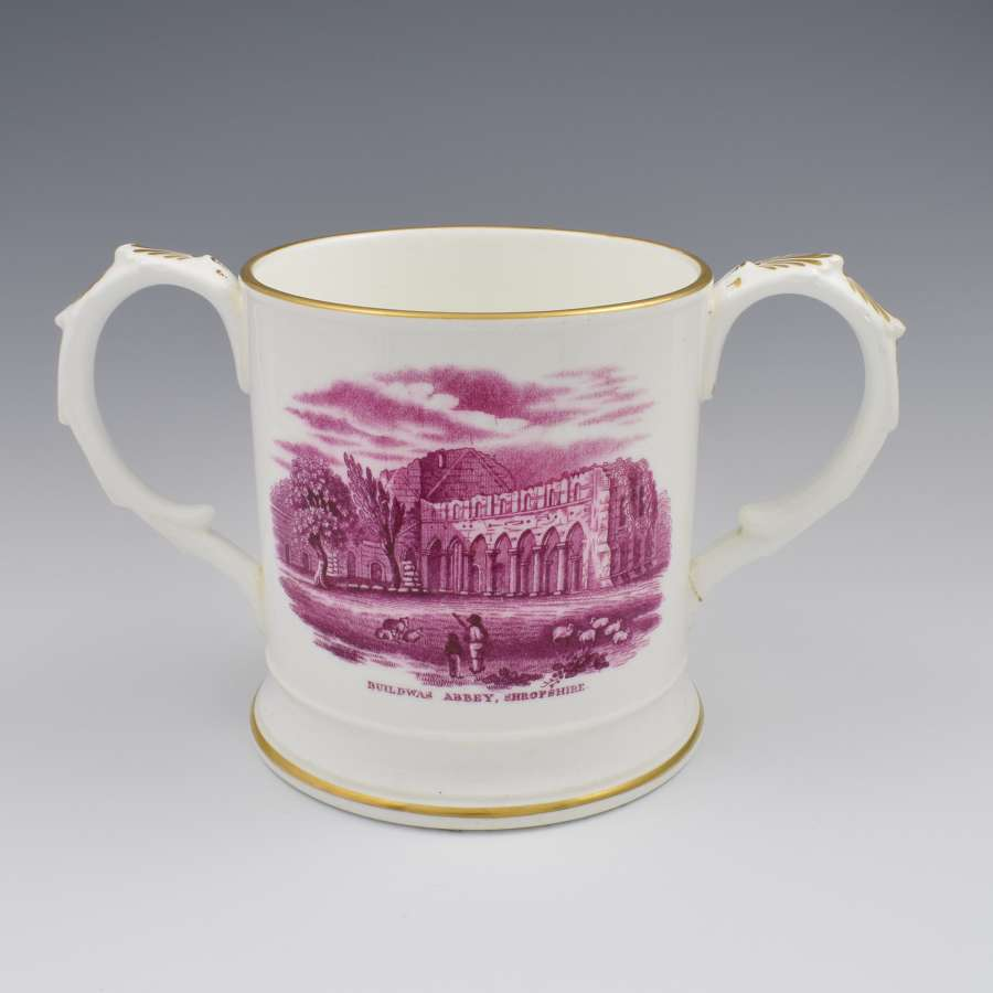 Early 19th Century Coalport Commemorative Buildwas Abbey Loving Cup