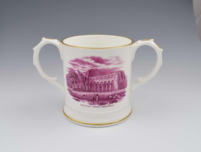 Early 19th Century Coalport Commemorative Buildwas Abbey Loving Cup