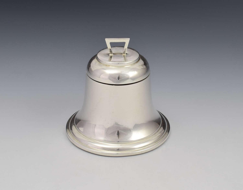 Art Deco Silver Novelty Bell Shaped Inkwell A & J Zimmerman 1927