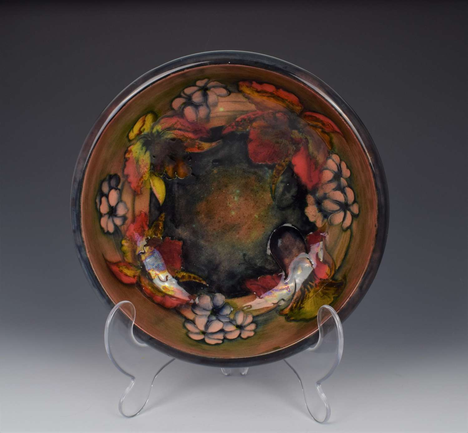 Large Moorcroft Flambe Orchid & Spring Flowers Bowl