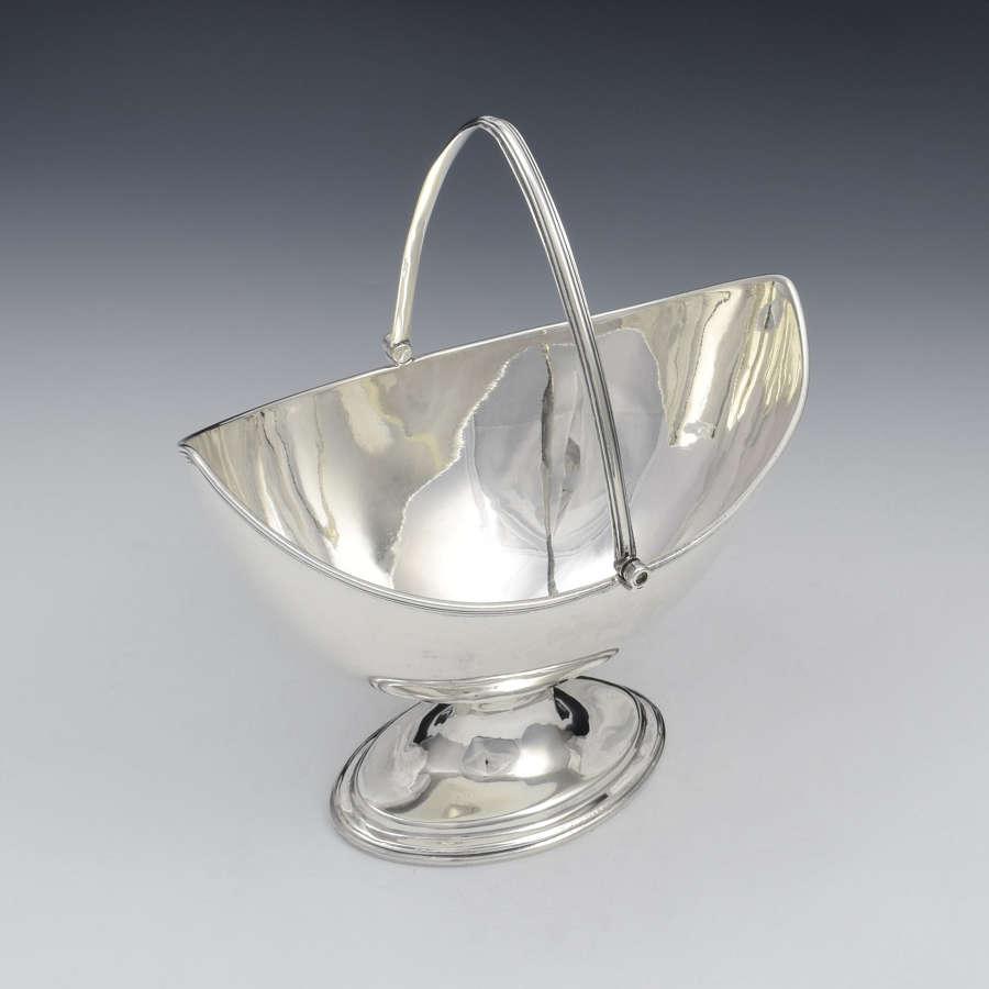 George III Silver Navette Shape Sugar Basket Georgian