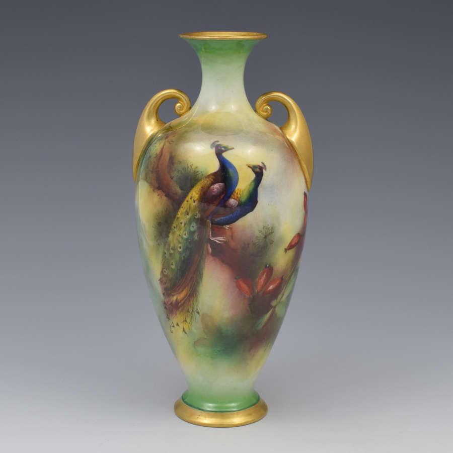 Royal Worcester Hadley Ware Peacocks Vase Henry Martin