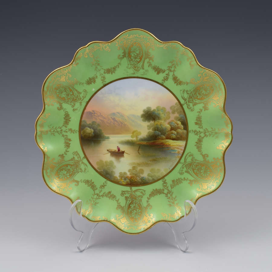 Aynsley Dessert Plate F. Micklewright Luss Straits Loch Lomond