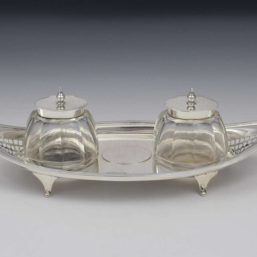 Edwardian Silver Double Inkstand Atkin Brothers Sheffield 1907