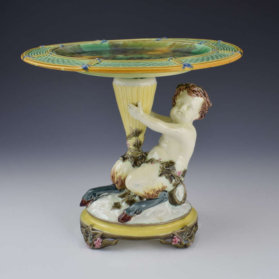 Wedgwood Victorian Majolica Comport Tazza Satyr C.1880