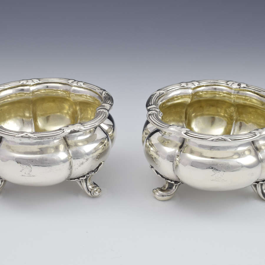 Large Pair Victorian Silver Table Salts John Samuel Hunt c.1850