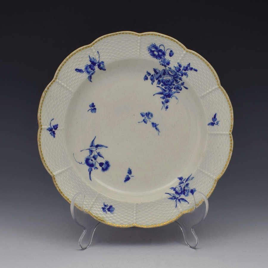 First Period Worcester Dry Blue Lobed Dessert Plate c.1775