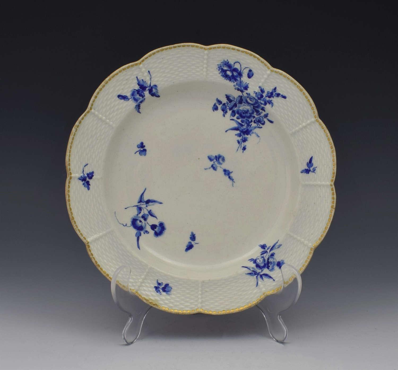 First Period Worcester Dry Blue Lobed Dessert Plate c.1775