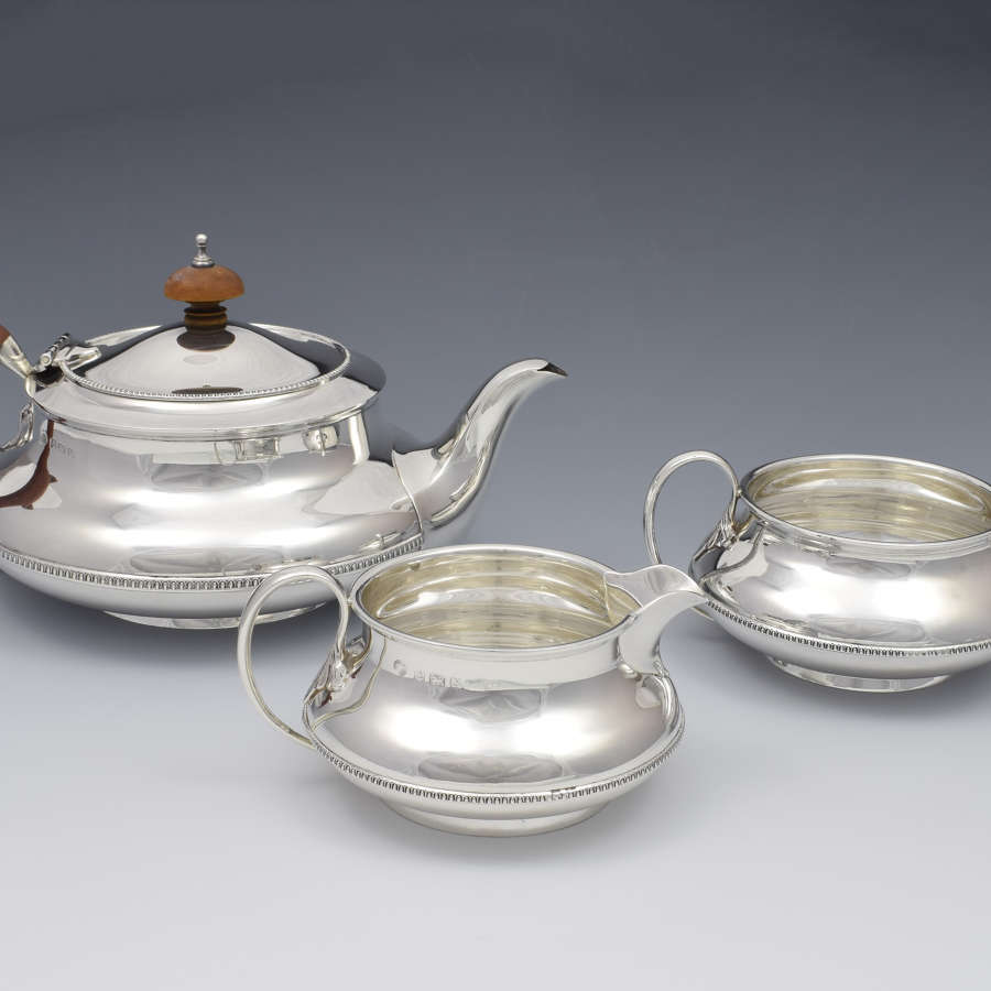 Art Deco 3 Piece Silver Tea Set Alexander Clark & Co. Ltd