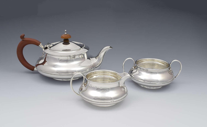 Art Deco 3 Piece Silver Tea Set Alexander Clark & Co. Ltd