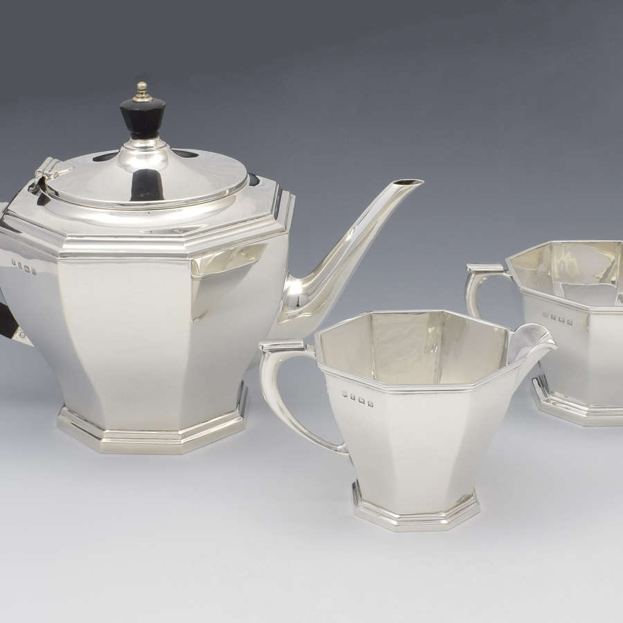 Silver Art Deco 3 Piece Tea Set William Neale & Sons Ltd