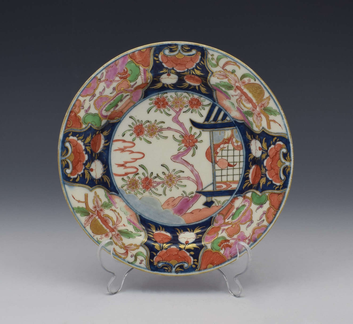 First Period Worcester Small Plate Pavilion Pattern c.1770