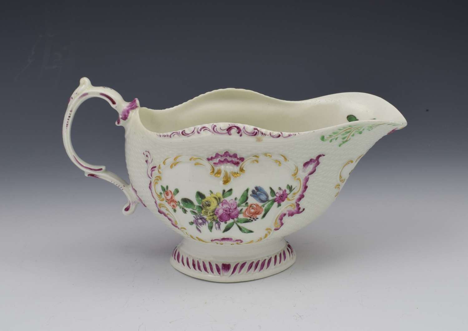 First Period Worcester Large Polychrome Sauceboat c.1765