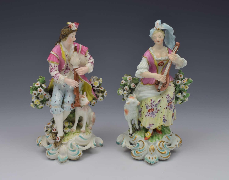 Pair Derby Figures Sitting Piper & Guitar Model 301 c.1770
