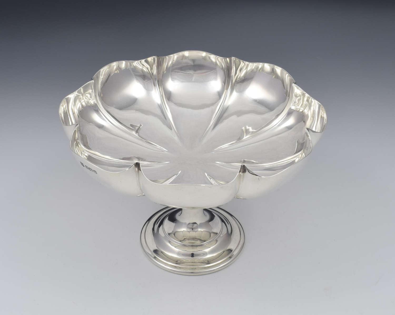 Art Nouveau Silver Melon Fluted Pedestal Bowl