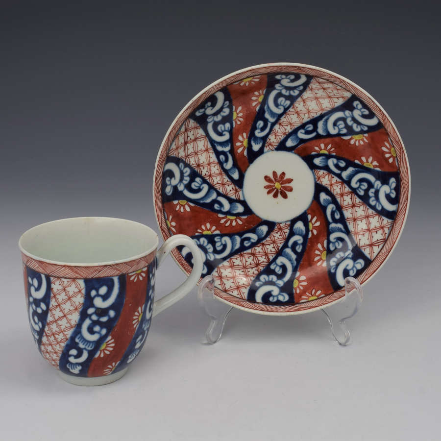 First Period Worcester Plain Queen's Pattern Cup & Saucer