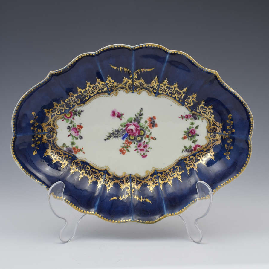 First Period Worcester Wet Blue Lozenge Dish Floral c.1775