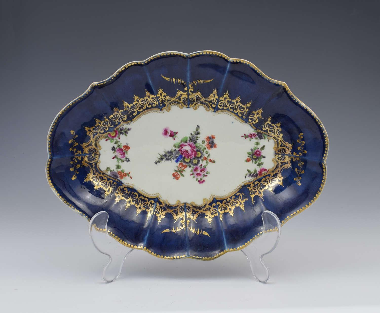 First Period Worcester Wet Blue Lozenge Dish Floral c.1775