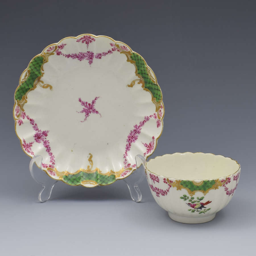 First Period Worcester Sevres Style Fluted Tea Bowl & Saucer