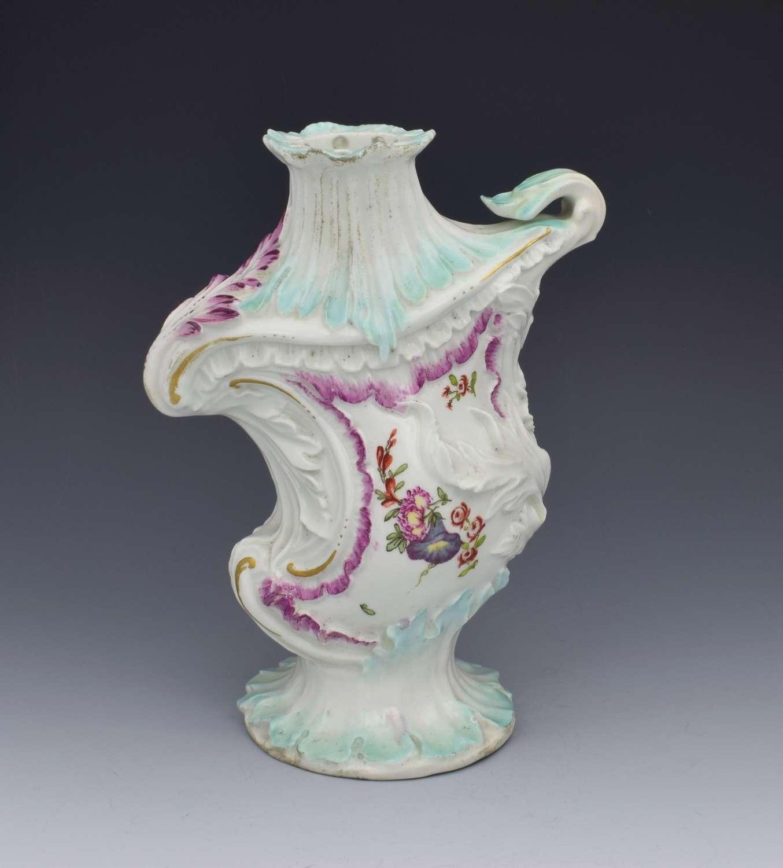 18th Century Derby Porcelain Asymmetric Rococo Vase c.1756