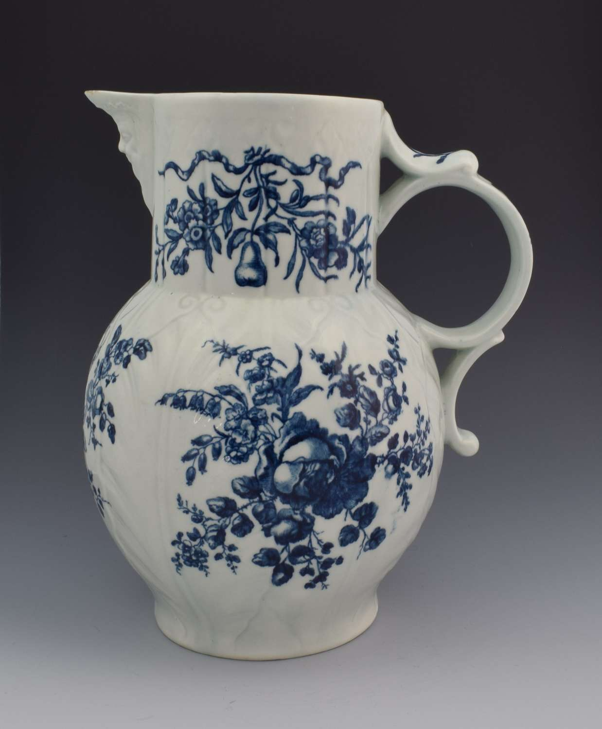 Rare First Period Worcester the Rose & Grape Sprays Cabbage Mask Jug