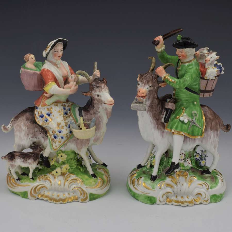 Pair Early Derby Porcelain Figures The Welch Tailor & Family N62