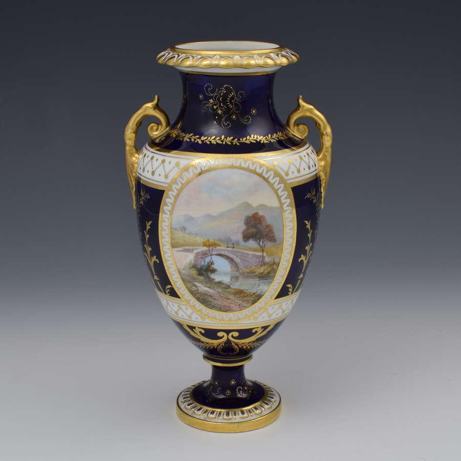 Royal Crown Derby Vase Signed Cuthbert Gresley Brigg Of Turk