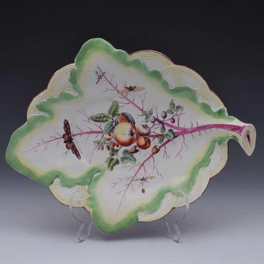 18th Century Derby Porcelain Leaf Dish Fruit & Moths c.1760