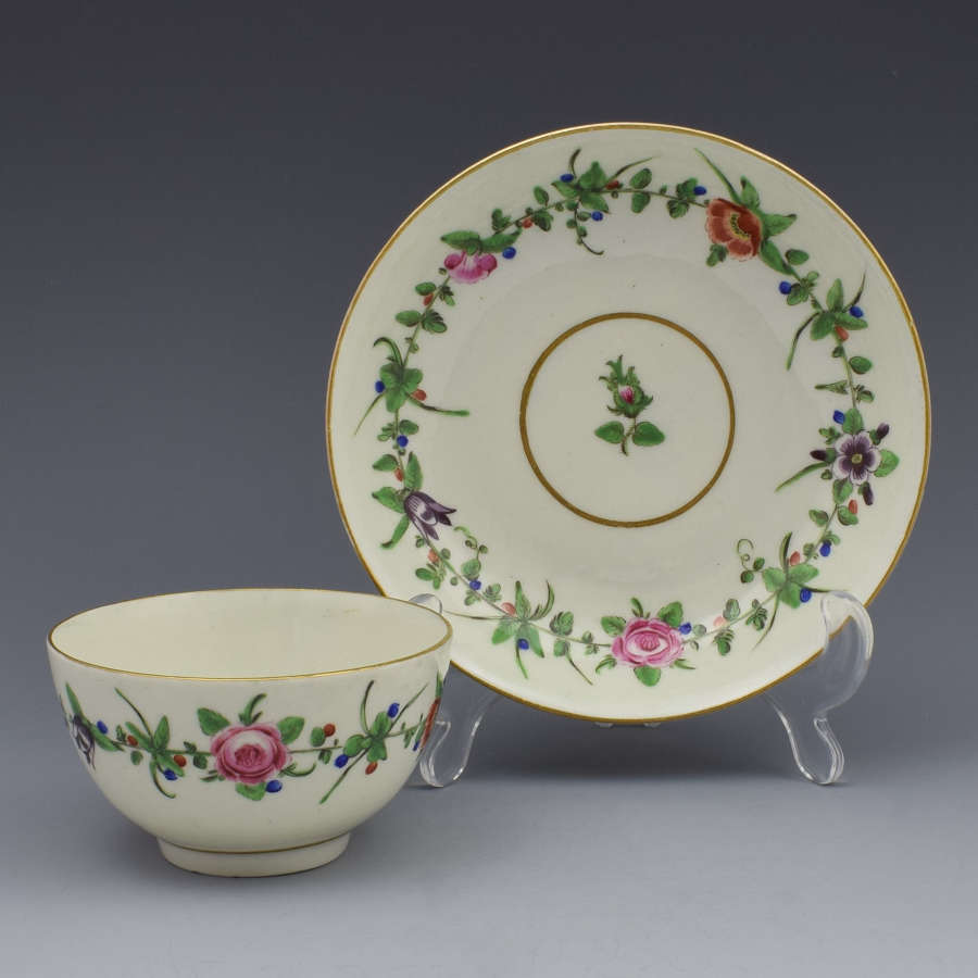 First Period Worcester Pretty Porcelain Floral Tea Bowl & Saucer