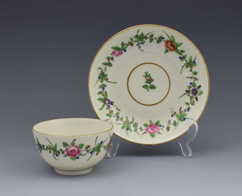 First Period Worcester Pretty Porcelain Floral Tea Bowl & Saucer