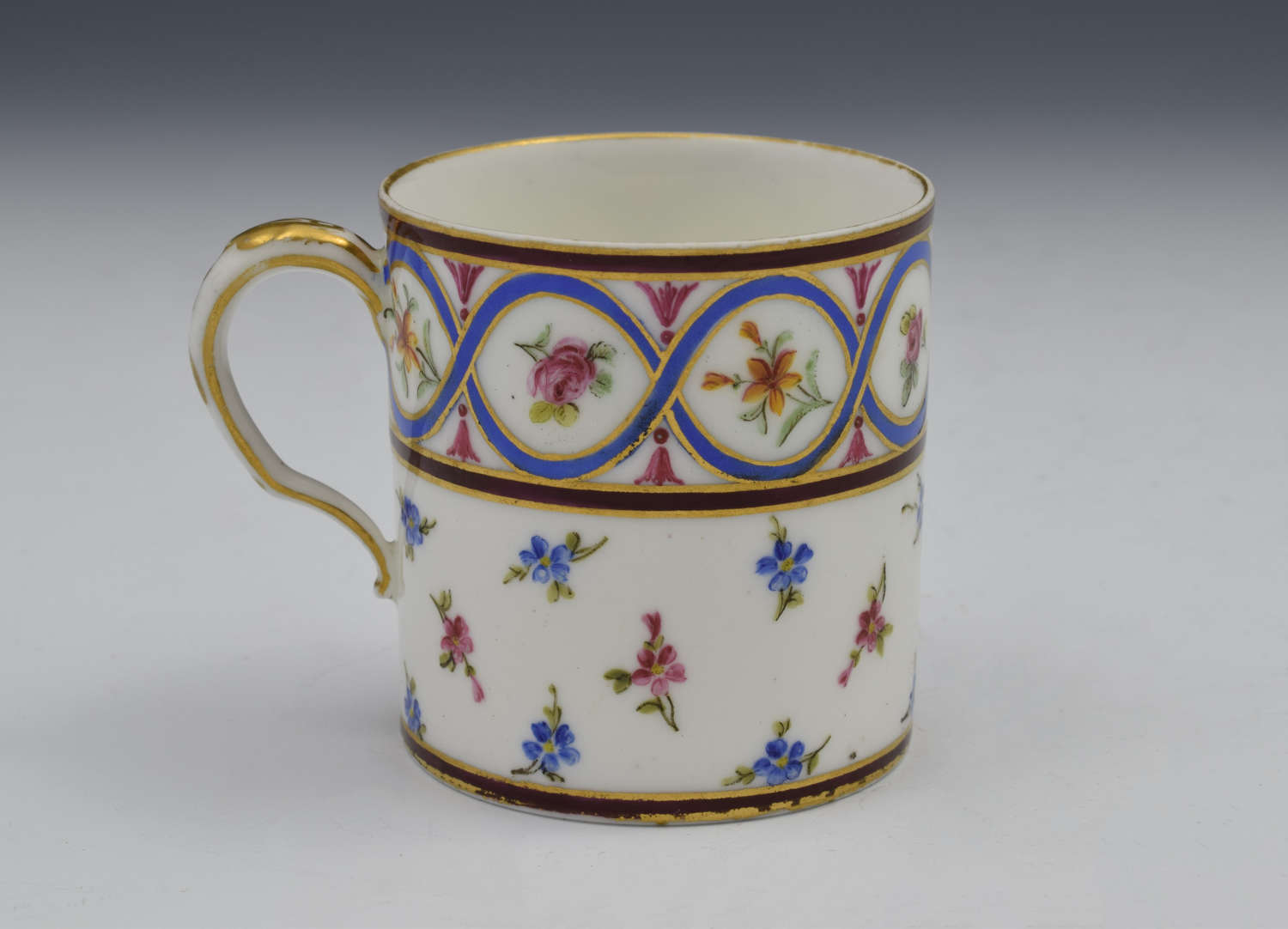 18th Century Sevres Coffee Can Gobelet Litron Marie Jeanne Barbe Bunel