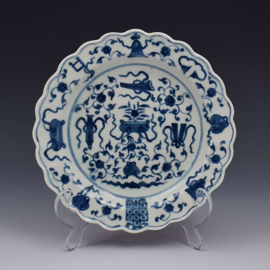 First Period Worcester Lobed Plate The Hundred Antiques Pattern