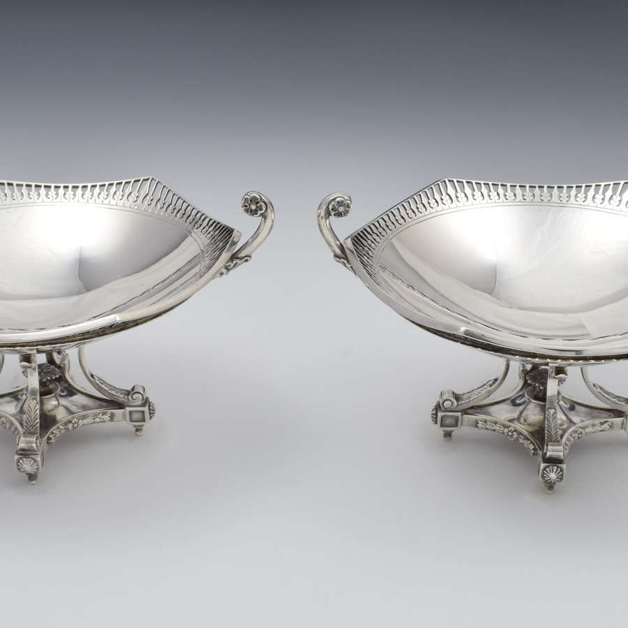 Fine Ornate Pair George V Silver Sweetmeat Dishes D&M Davis