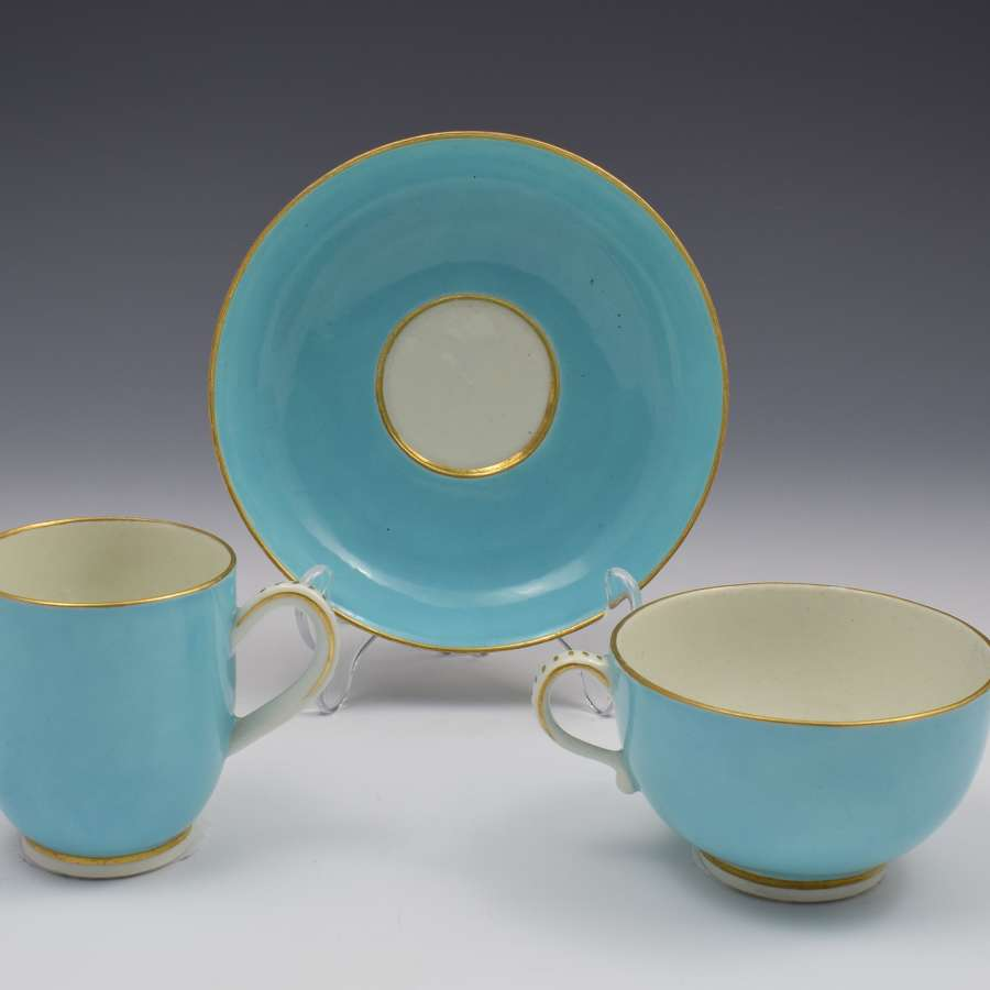First Period Worcester Giles Decorated Celeste Bleu Cup & Saucer Trio