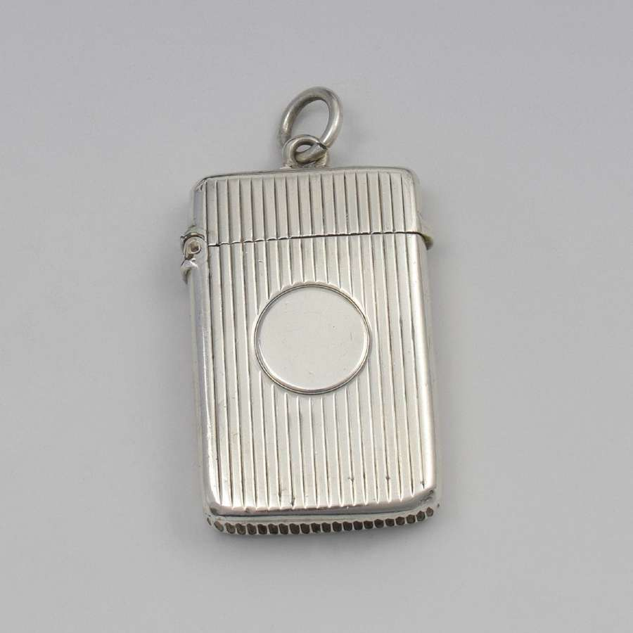 Engine Turned Ladies Silver Vesta Case George Unite 1900