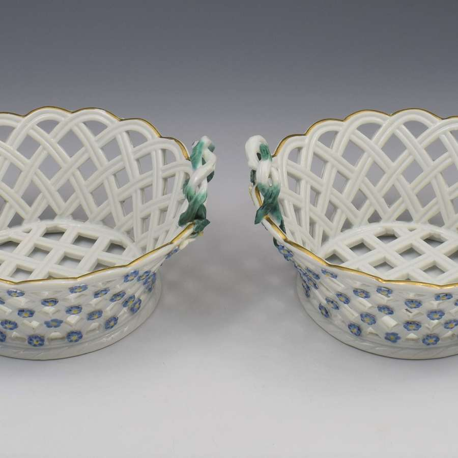 Pair 18th Century Meissen Porcelain Pierced Baskets, c.1765