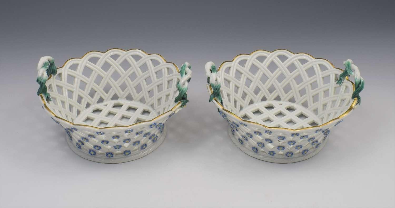 Pair 18th Century Meissen Porcelain Pierced Baskets, c.1765