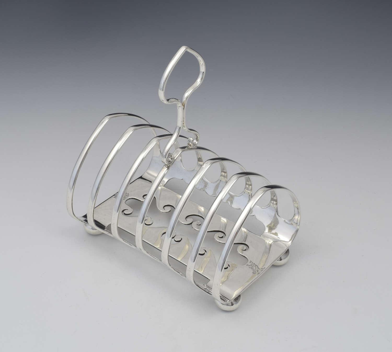 Unusual Edwardian Silver 6 Slice Toast Rack