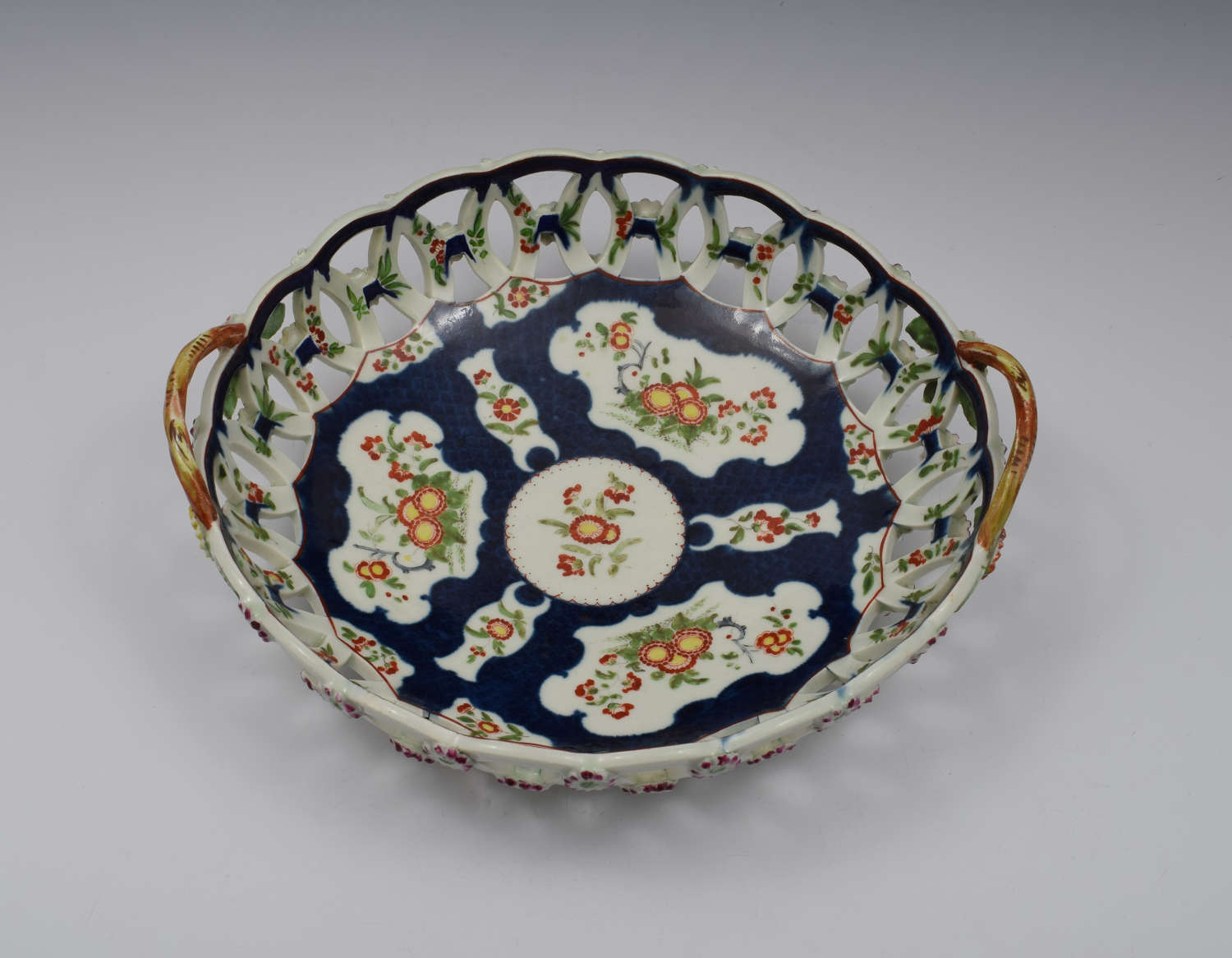 First Period Worcester Porcelain Large Scale Blue Basket c.1770