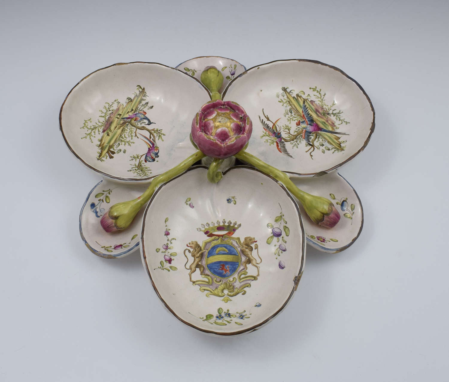 Large French Faience Sweetmeat / Hors D'Oeuvres Dish