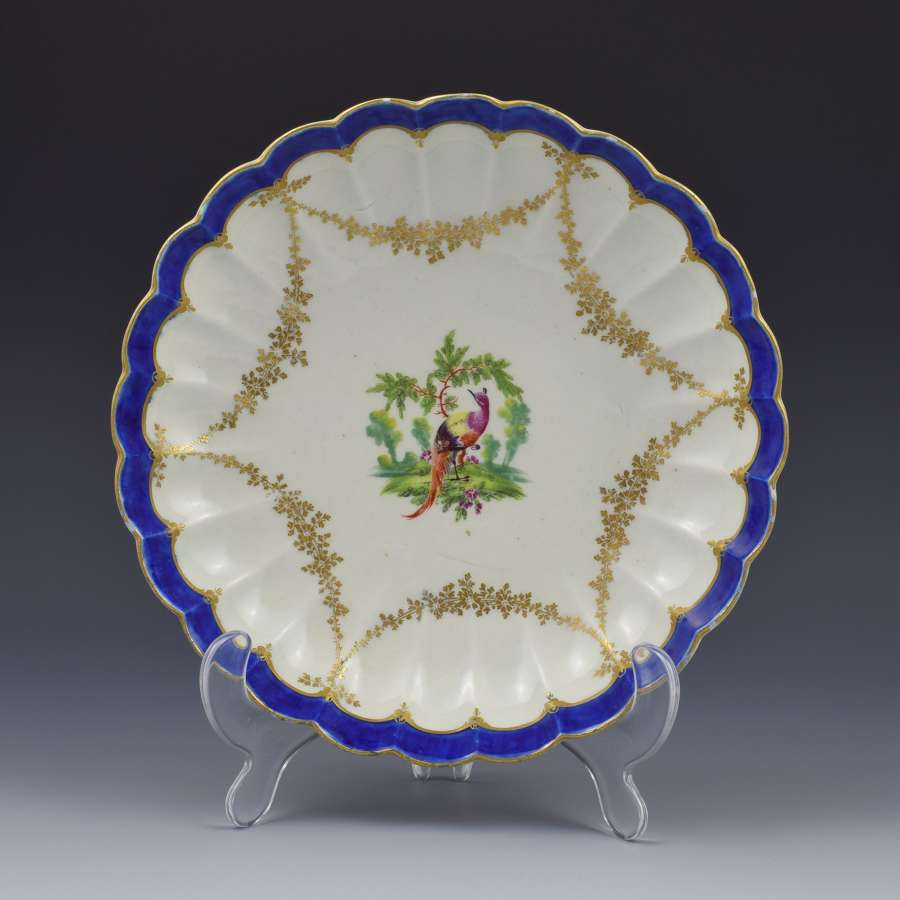 First Period Worcester Porcelain Fancy Bird Pattern Lobed Dish c.1775