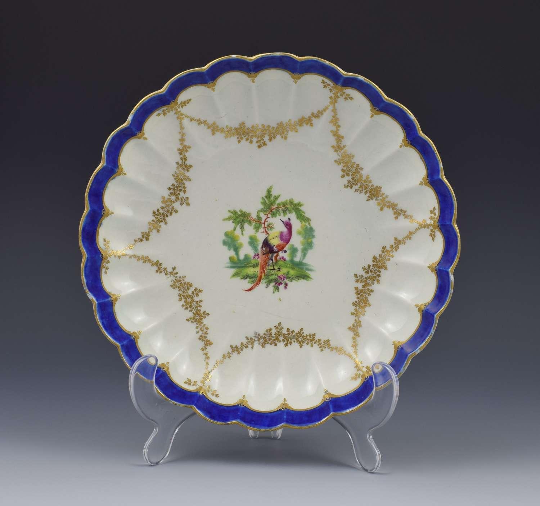 First Period Worcester Porcelain Fancy Bird Pattern Lobed Dish c.1775
