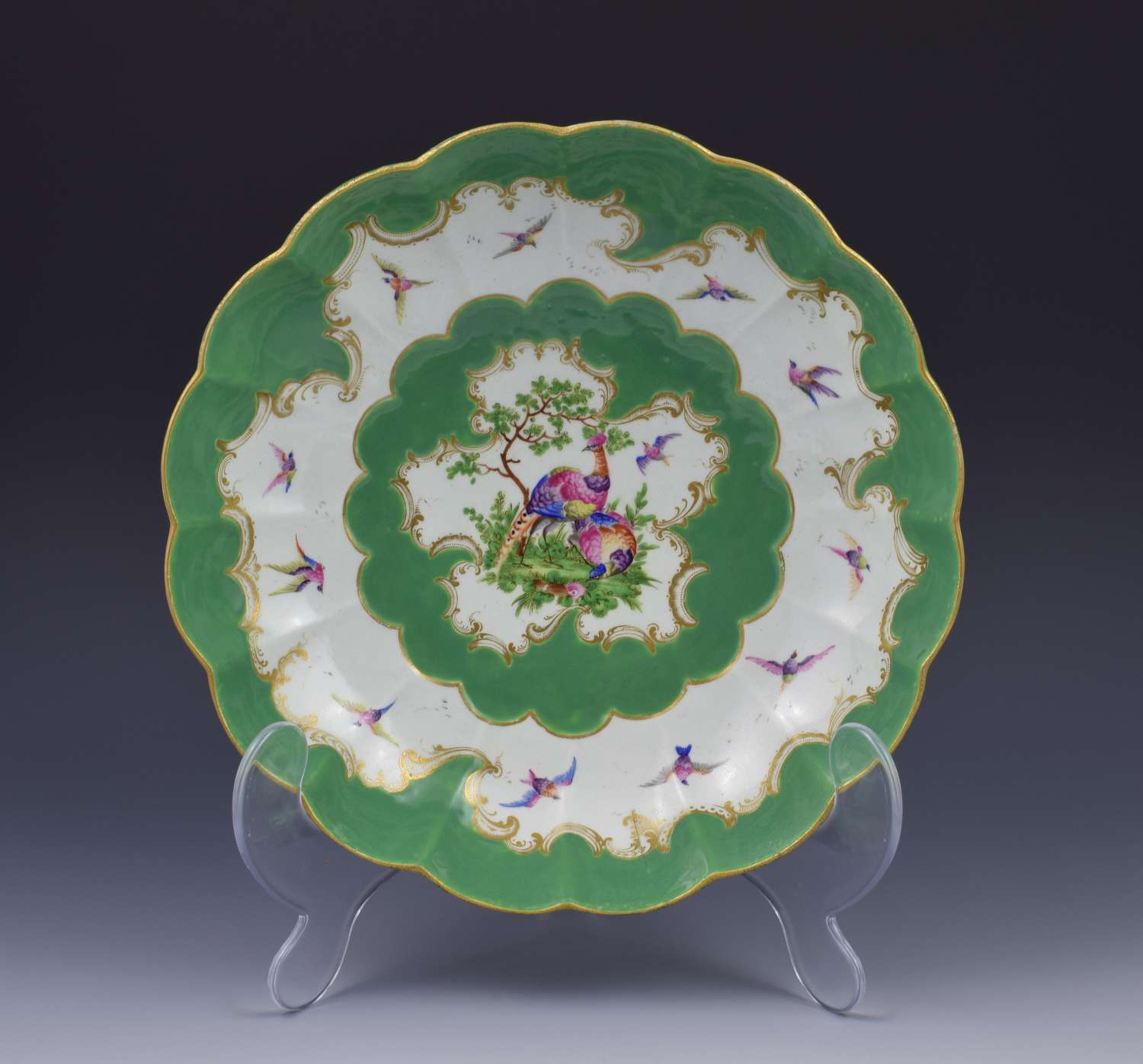 Large Redecorated First Period Worcester Green Junket Bowl