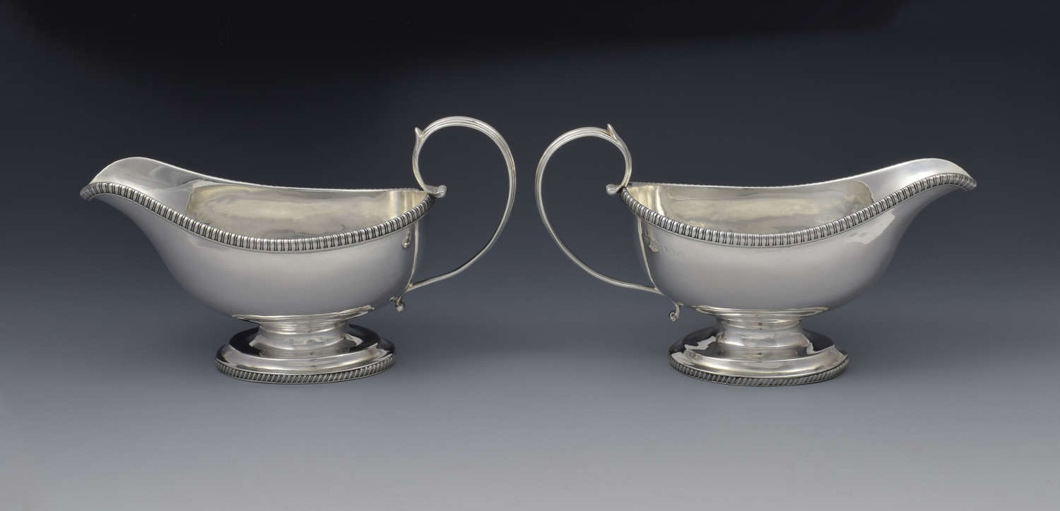 Pair George III Silver Pedestal Sauceboats Crispin Fuller Sauce Boats