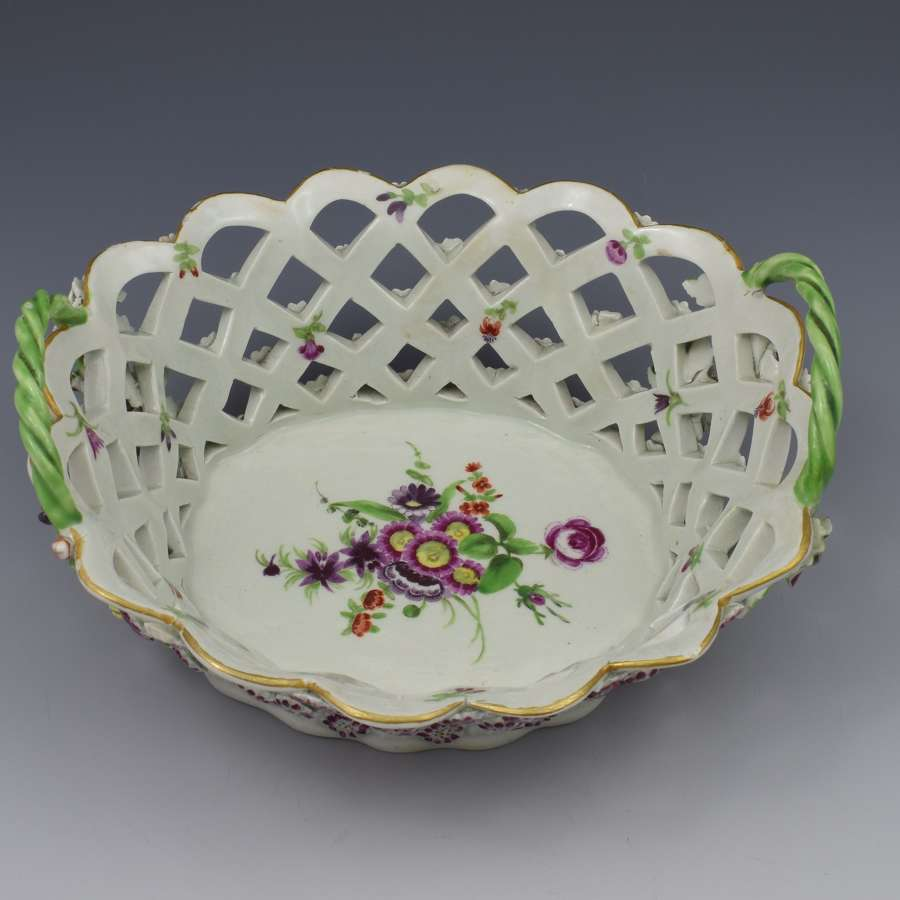 First Period Worcester Porcelain Polychrome Chestnut Basket c.1775