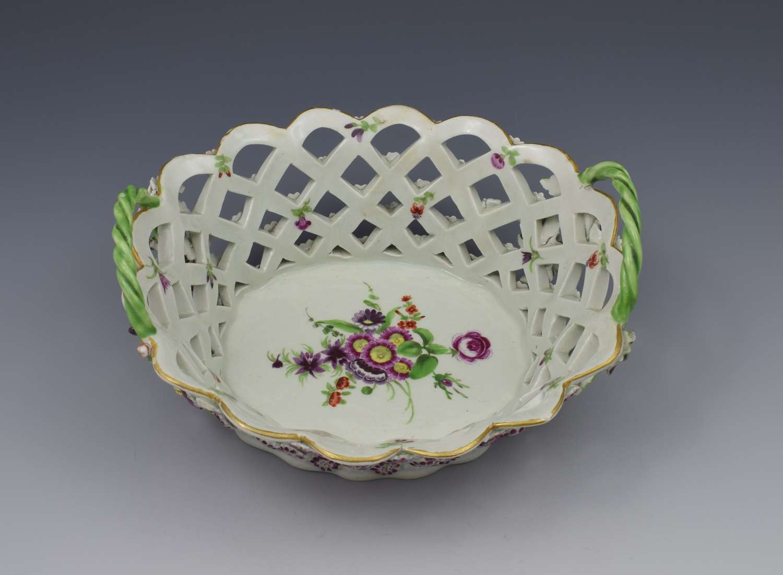First Period Worcester Porcelain Polychrome Chestnut Basket c.1775