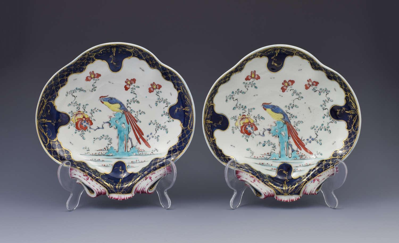 Pair First Period Worcester Sir Joshua Reynolds Shell Dessert Dishes