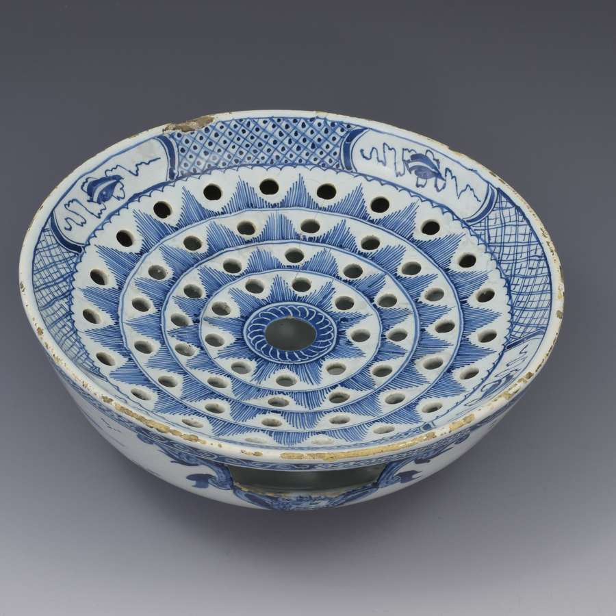 18th Century English Delft Colander Bowl c.1760