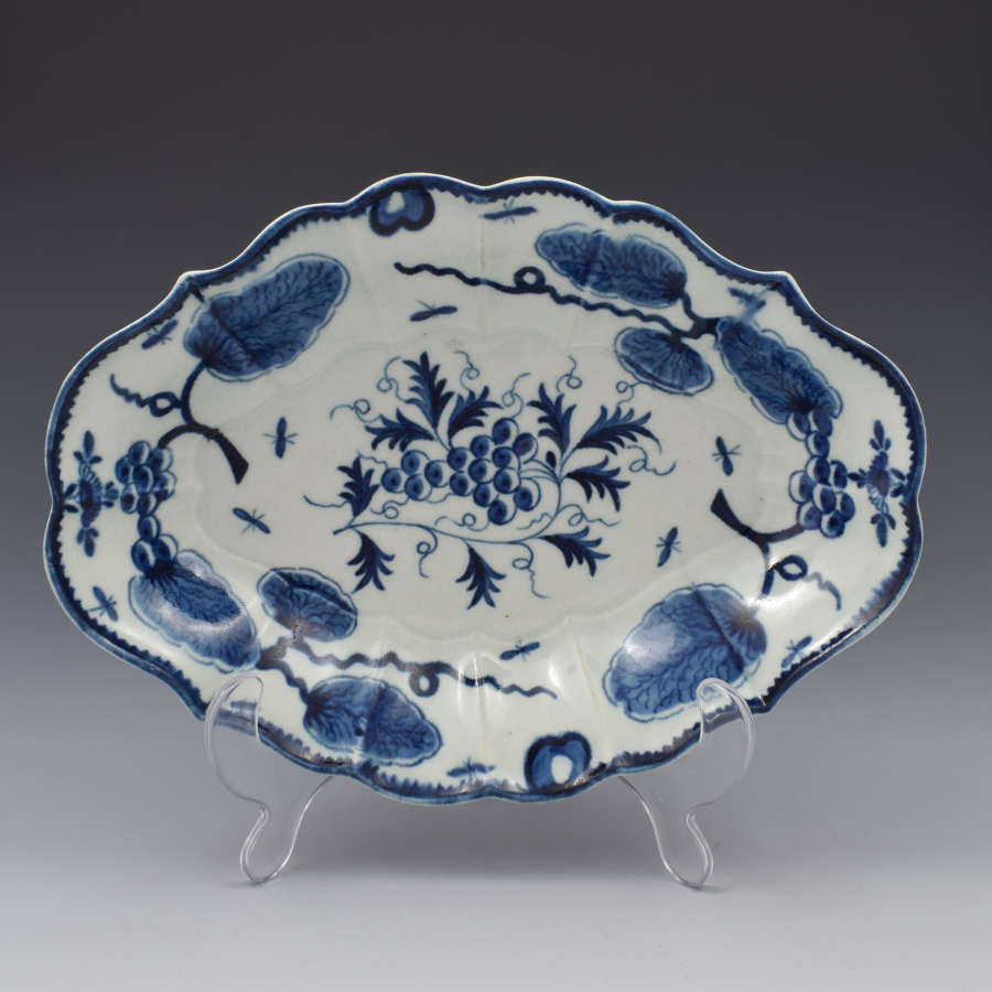 First Period Worcester Rubber Tree Plant Lozenge Dessert Dish c.1775