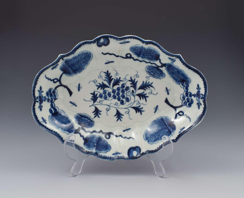 First Period Worcester Rubber Tree Plant Lozenge Dessert Dish c.1775